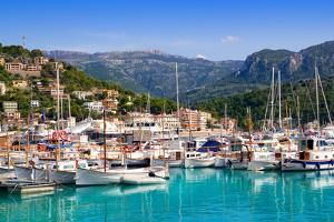 Port De Soller View with Tramontana Mountain in Mallorca Island in Spain by holbox