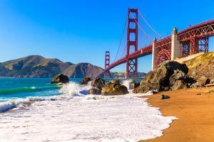 San Francisco Golden Gate Bridge GGB from Marshall Beach in California USA by holbox