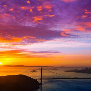 San Francisco Golden Gate Bridge Sunrise California USA from Marin Headlands by holbox