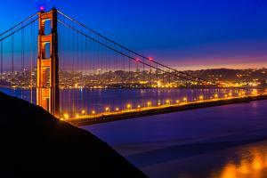 San Francisco Golden Gate Bridge Sunset View through Cables in California USA by holbox