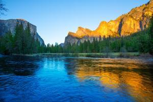 Yosemite Merced River El Capitan and Half Dome in California National Parks US by holbox