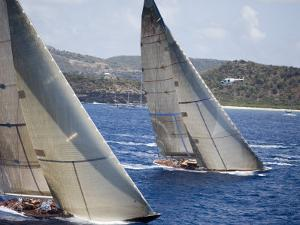 Aerial Photo of J-Class Cutters, Antigua Classic Yacht Regatta, Antigua & Barbuda by Holger Leue