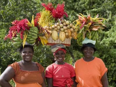 Grenadian Women Carrying Fruit on Their Heads near Annandale Falls, St. George, Grenada
