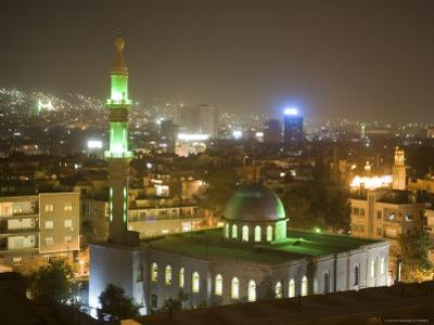 Overhead View of Damascus Skyline at Night from Le Meridien Damascus Hotel by Holger Leue