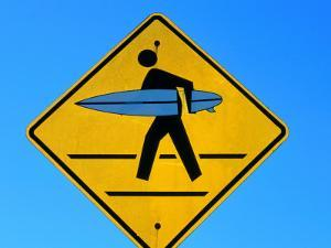 Surfer Warning Sign, Kauai, Hawaii by Holger Leue