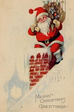 Holidays Christmas Card Santa on a roof Merry Christmas Greetings