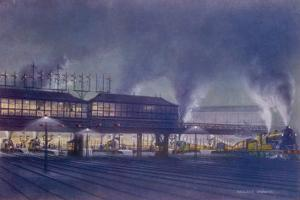 An Engine Driver's View of the Station as He Approaches It at Night, a Picture by Holland Browne