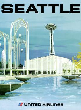 Seattle - Space Needle and Seattle Center - United Airlines by Hollenbeck
