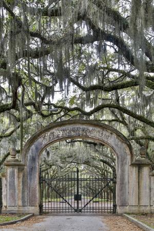 USA, Georgia, Savannah. Plantation gate at entrance