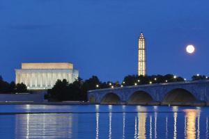 USA, Washington DC, Moon Rising Over the Memorial Bridge and the Lincoln Memorial, by Hollice Looney