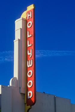 """Hollywood"" sign at the Hollywood Theater in Los Angeles, California"