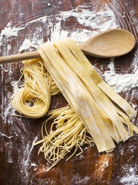 Home-Made Pasta with Wooden Spoon