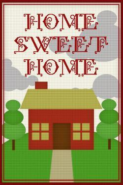 Home Sweet Home Retro Faux Cross-stitch Poster