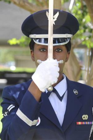 Honor Guard Places a Saber in Front of Her Face