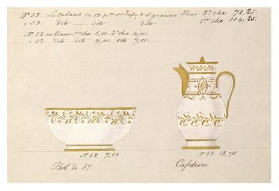 Bol et cafetière, ca. 1800-1820