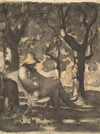 A Man Reading in a Garden, 1825-79
