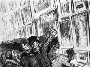 Cartoon of an Artist Being Comforted at the 1859 Paris Salon over the Position of His Work by Honore Daumier