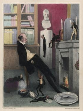L'Imagination, The Misanthrope Contemplates Various Ways in Which He Might Put an End to His Life by Honore Daumier
