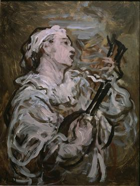 Pierrot With a Guitar by Honore Daumier