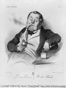 Series Galerie Physionomique, a True Smoker, 1836 by Honore Daumier