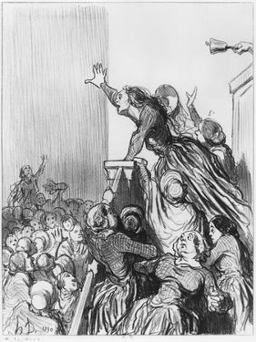 Series Les Divorceuses, Plate 1, Illustration from Le Charivari, 4th August 1848 by Honore Daumier