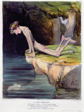 The Beautiful Narcissus, Caricature Engraved by D'Aubert and Co. and Published by Bauger in Paris