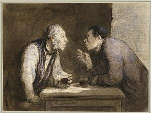 Two Drinkers, C.1857-69 by Honore Daumier