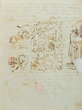 Letter with Drawing Sent to Balzac's Sister Laure, 1821 by Honore de Balzac