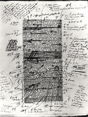 Page from One of Balzac's Works with Handwritten Corrections by Honore de Balzac