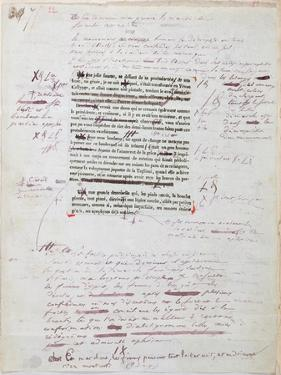 Proof of Printed Page with Annotations by the Author by Honore de Balzac