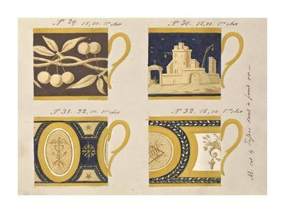 Quatre tasses à fond or, ca. 1800-1820