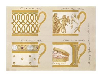 Quatre tasses avec fond d'or, ca. 1800-1820