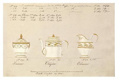 Sucrier, cheyère et cremier, ca. 1800-1820