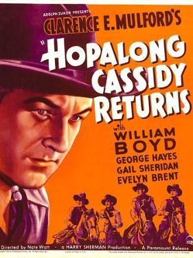 HOPALONG CASSIDY RETURNS, left: William Boyd on window card, 1936