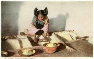 Hopi Maiden Grinding Corn