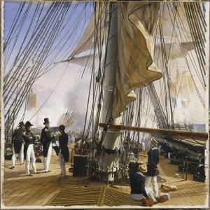 La Flotte française est commandée par l'amiral Roussin. Salle de Constantine by Horace Vernet