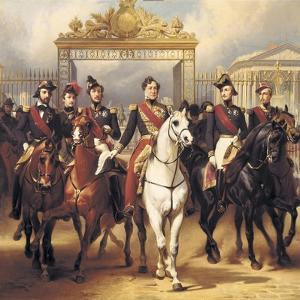 Louis-Philippe and His Sons on Horseback in Front of the Bar of the Chateau De Versailles by Horace Vernet