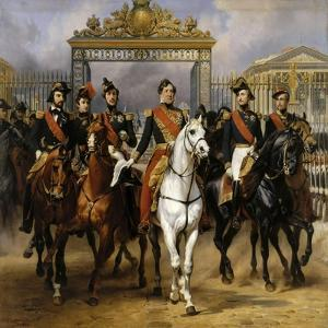 Louis Philippe and His Sons to Horse at This Leave Versailles of Lock, June 10, 1837 by Horace Vernet