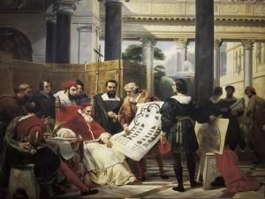 Pope Julius II Ordering Bramante, Michelangelo and Raphael to Construct the Vatican and St by Horace Vernet