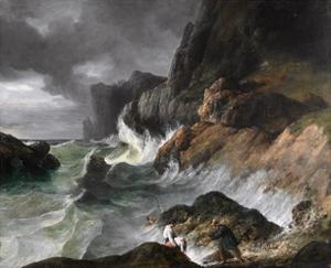 Stormy Coast Scene after a Shipwreck by Horace Vernet