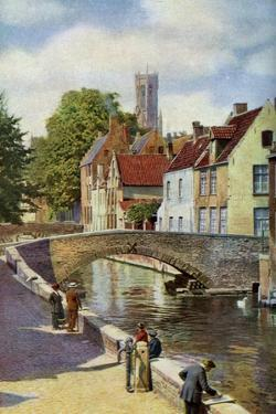 Bridge and Green Quay, Bruges, Belgium, C1924 by Horace W Nicholls