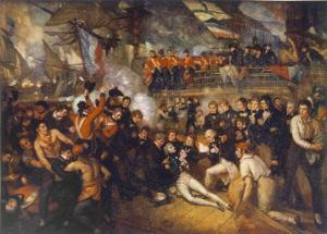 Horatio Nelson Is Fatally Wounded at the Battle of Trafalgar