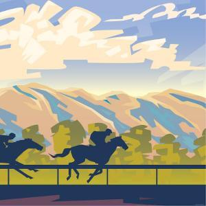 Horse Racing with Mountain Landscape