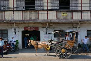 Horsedrawn and people outside a museum, Crisologo Museum, Vigan, Ilocos Sur, Philippines