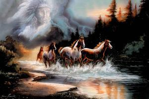 Horses Running in a River with a Native American Spirit