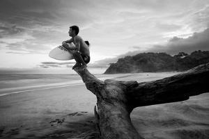 A Surfer Looks Out at the Pacific Ocean by Horton Horton