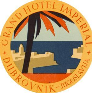 Hotel Label from the Grand Hotel Imperial Dubrovnik Yugoslavia
