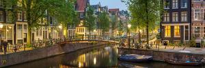 Houses Along Canal at Dusk at Intersection of Herengracht and Brouwersgracht