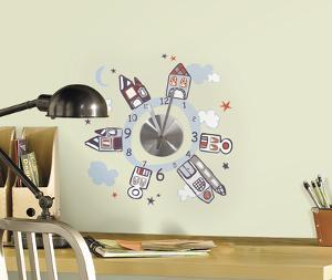Houses at Night Wall Clock Decal