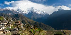 Houses in a Town on a Hill, Ghandruk, Annapurna Range, Himalayas, Nepal